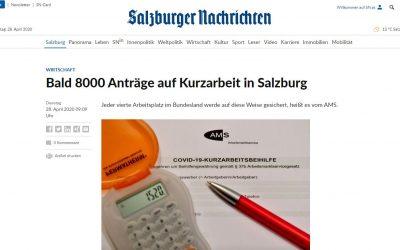 Salzburger Nachrichten berichtet: Bald 8000 Anträge auf Kurzarbeit in Salzburg